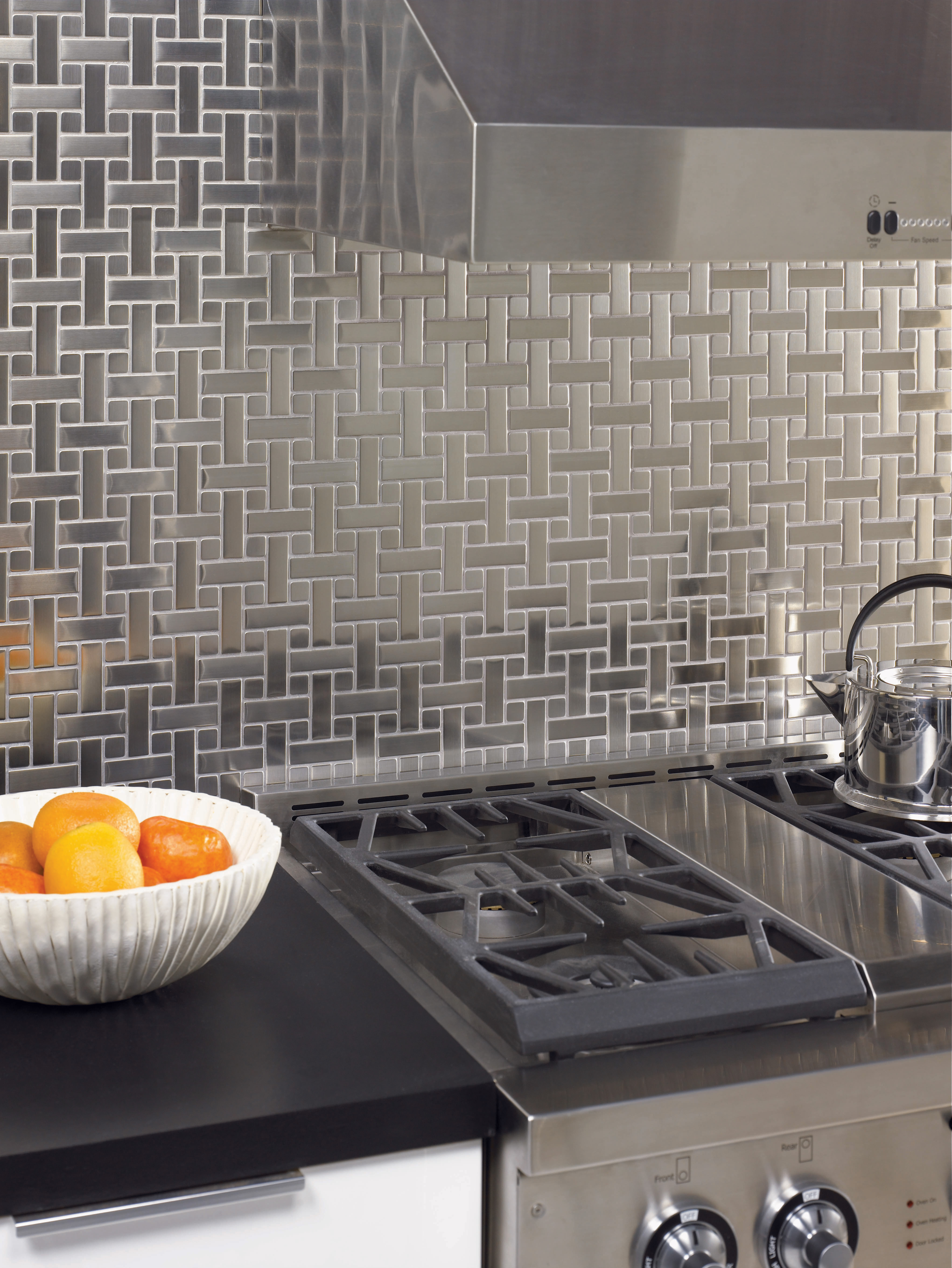Metal tiles for kitchen backsplash